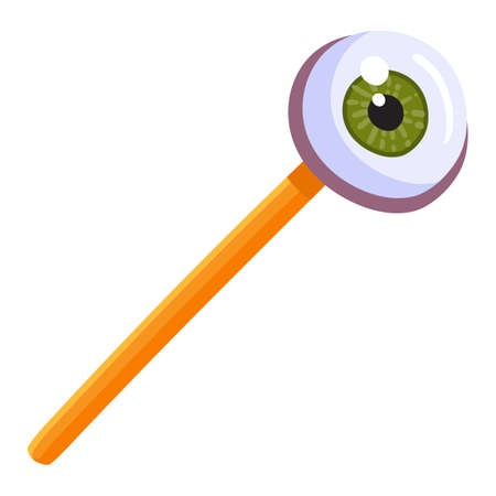 Halloween lollipop with eyeball candy on stick isolated on white background. Glossy eye lolly for Halloween holiday celebration. Vector illustration