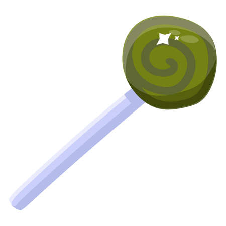 Green swirl lollipop candy on white background. Cute caramel candy cane on stick isolated. Halloween or Christmas treat design. Vector illustration