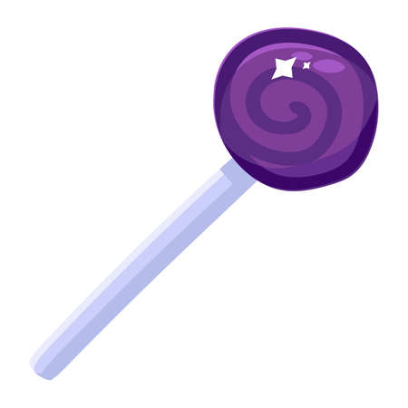 Shiny purple candy cane on stick cartoon icon isolated. Holiday lollipop for Christmas or Halloween concept. Cute lolly on white background. Vector illustration Ilustração