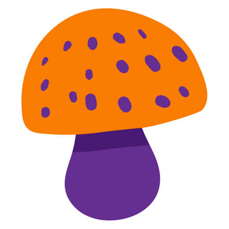 Colorful poisonous mushroom icon for Halloween design. Template card, invitation, holiday poster element. Cartoon fly agaric sign. Vector illustration