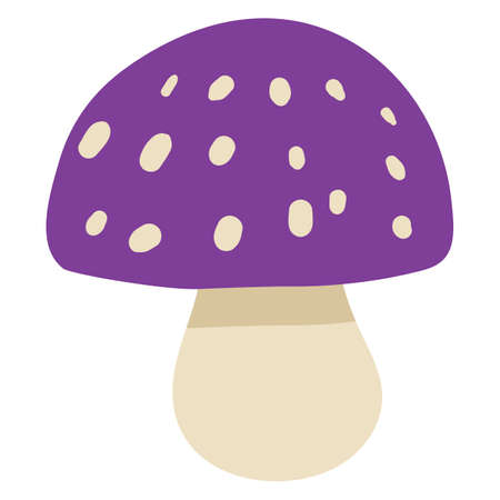 Mushroom for Halloween party decor. Isolated icon of poisonous fungi for witchcraft and wizard concept. Halloween symbol cartoon. Vector illustration