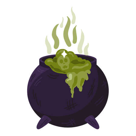 Witch cauldron with bubbling green liquid isolated. Magic potion, witchcraft symbol. Dark boiling pot. Traditional halloween element or icon. Vector illustration