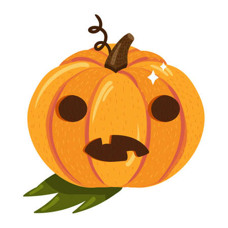 Halloween pumpkin with scary face isolated on white background. Jack-o-lantern symbol for traditional Halloween celebration. Holiday icon. Vector illustration Ilustração