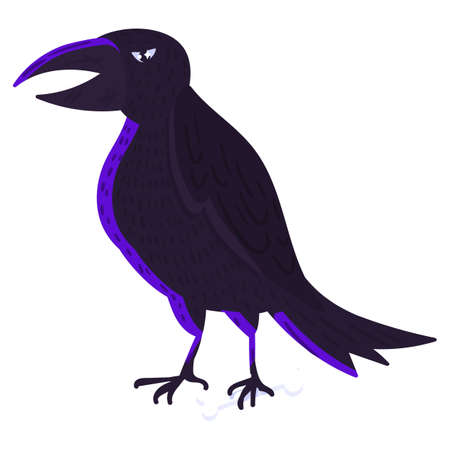 Scary raven bird, Halloween crow on white background isolated. Spooky dark raven cartoon. Horror character for Halloween holiday celebration. Vector illustration