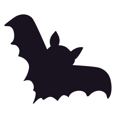 Bat silhouette on white background. Black bat shape for Halloween party, card design or poster. Scary vampire animal shape isolated. Vector illustration