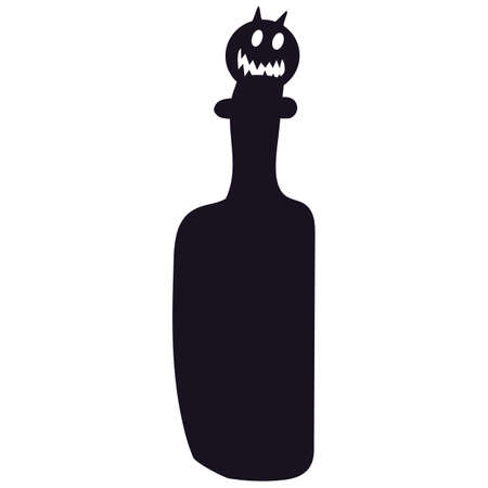 Toxic potion bottle silhouette with Halloween pumpkin cork. Dangerous poison symbol for Halloween party decoration or invitation. Vector illustration