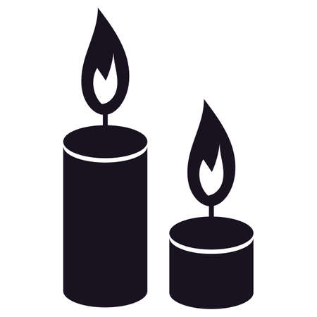 Candles silhouettes icon for Halloween holiday design. Isolated candles on white background. Ritual atmosphere symbol decoration. Vector illustration Ilustração
