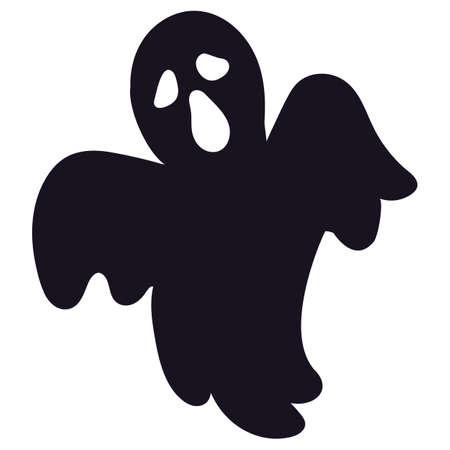 Halloween ghost silhouette icon, spooky sign on white background. Scary ghost character for Halloween holiday. Cartoon death sign. Vector illustration Ilustração