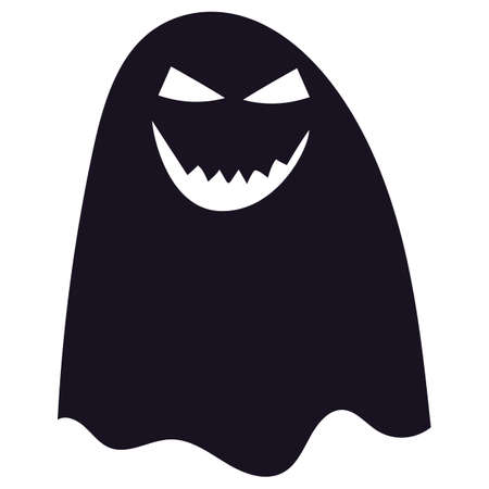 Black silhouette of Halloween ghost scary smiling, spooky ghost on white background. Character for Halloween holiday. Vector illustration