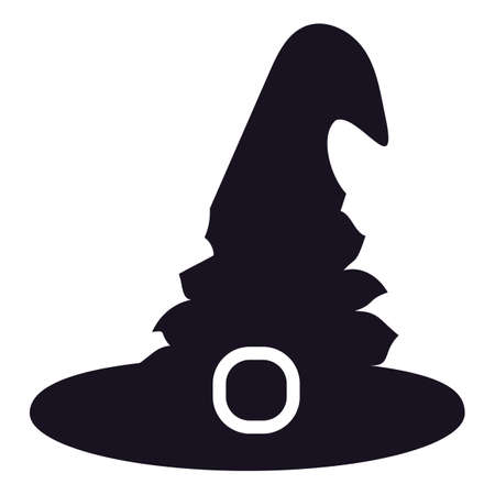 Witch hat silhouette sign for Halloween holiday isolated on white background. Witchery concept. Black Halloween icon. Vector illustration