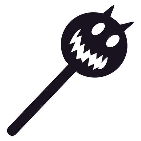 Silhouette Halloween lollipop with pumpkin candy on stick isolated on white background. Black lolly icon for Halloween celebration. Vector illustration
