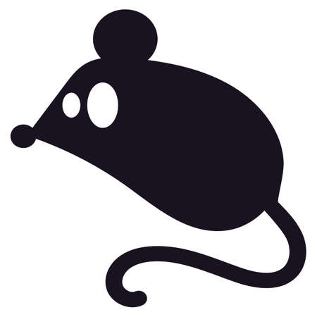 Mouse silhouette black icon for Halloween concept. Cute rat character isolated on white background. Mouse sign for scary holiday design. Vector illustration Ilustração