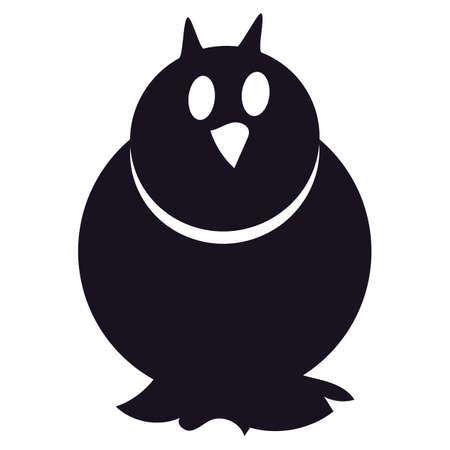 Owl silhouette cartoon black bird isolated icon. Cute character for Halloween holiday concept. Scary decoration element design. Vector illustration