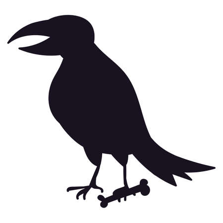 Raven bird icon silhouette, Halloween crow shape on white background isolated. Spooky dark raven. Horror character for Halloween holiday. Vector illustration