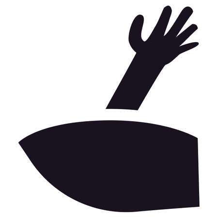 Scary zombie hand silhouette coming out from grave. Black shape of dead hand for Halloween holiday. Scary autumn holiday symbol. Vector illustration