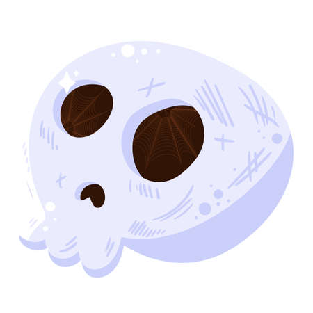 Skull icon isolated, symbol for Halloween holiday on white background. Scary skeleton, death sign for Halloween celebration. Cartoon vector illustration