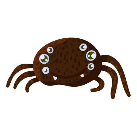 Big spider with many eyes on white background for Halloween holiday. Isolated cartoon spider, scary autumn holiday sign. Halloween vector illustration