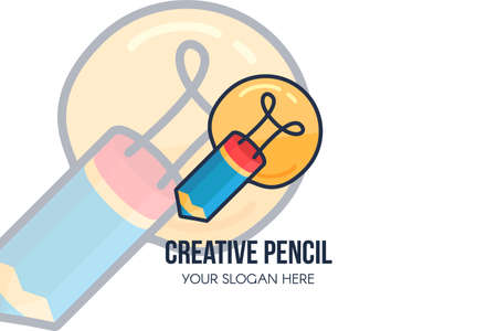 Creative idea, pencil, light bulb for  design