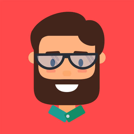 Hipster avatar, icon of bearded man in glasses