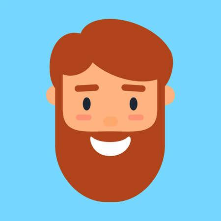 Cartoon avatar of smiling beard man, profile icon Illustration