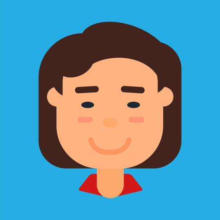 Chinese or kapanese female avatar, woman icon Illustration