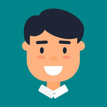Male avatar, profile icon of smiling caucasian man Illustration