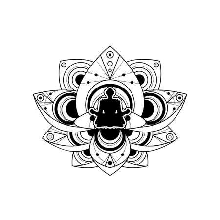 Human Silhouette with Lotus Flower Vector Template 向量圖像
