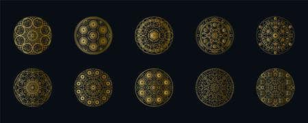 Golden ink geometric mandala linear vector set. Ethnic oriental symbol isolated on black