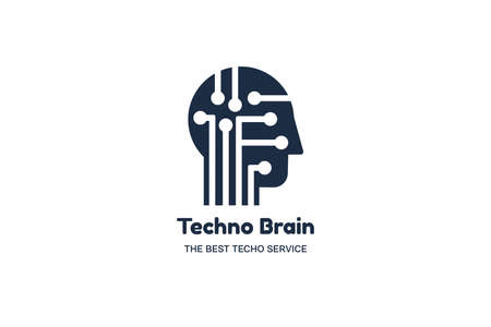 Techno brain negative space logotype concept. IT company, AI technology conference banner template Illustration