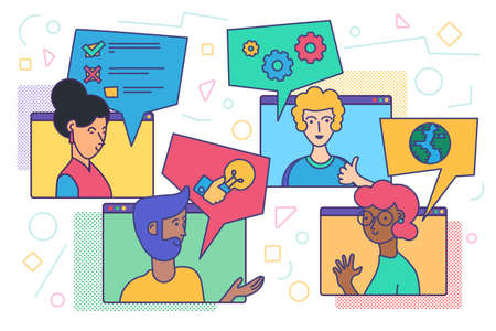 Video conference and chatting. Online meeting of diverse people for distance web communication. Friends video call or team business call from home. Vector illustration Illustration