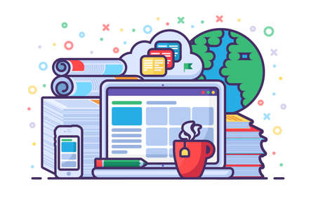 Online education concept with laptop, gadgets, books and cloud computing technology for elearning, online trainings and courses. Digital and distance learning. Vector illustration