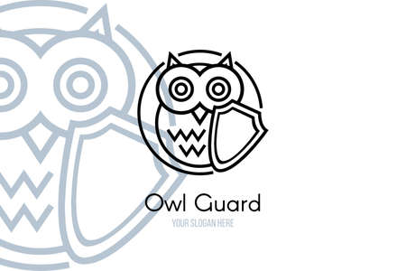 Security logo outline template for company branding. Owl holding protection shield over white background with copy space. Online safety and privacy protect. Vector illustration Illustration