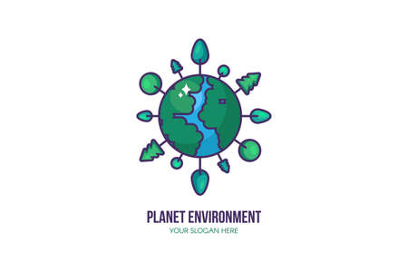 Eco planet template. Environment protection sign. Save planet, water and energy label with trees growing around earth. Stay eco friendly and green concept. Vector illustration