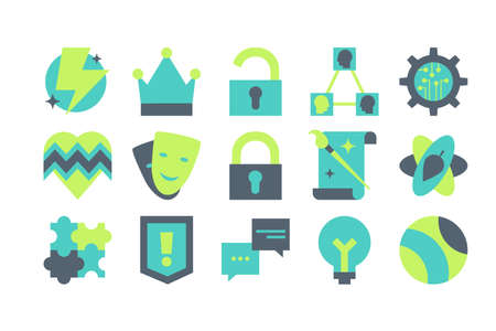 Personalities and archetypes flat vector icons set. Psychology symbols. Hobbies and activities Illustration