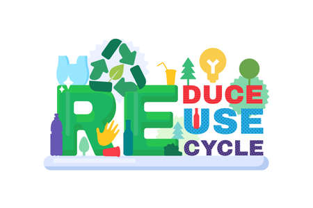 Reduce, reuse, recycle banner for ecology and environmental protection concept. Zero waste, eco friendly, saving planet and reducing pollution message. Vector illustration
