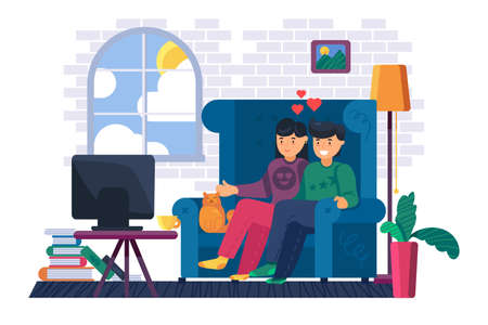 Couple sitting on sofa watch tv at home. Young man and woman watching film or tv show together. Domestic lifestyle and stay home concept. Cartoon vector illustration Illustration