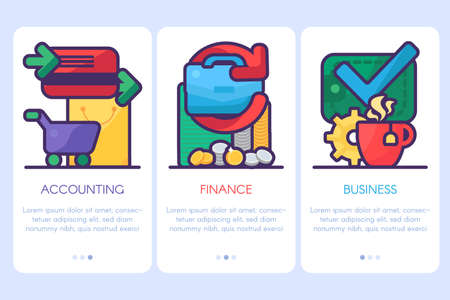 Accounting, finance, business templates for website and print. Financial strategy and analysis poster or web banner design elements with copy space. Vector illustration
