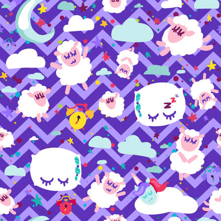 Bedtime, good night sleep vector seamless pattern. Cute dreaming animals. Wallpaper flat design