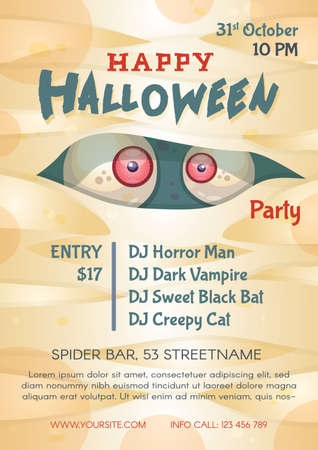 Happy halloween party poster template. Advertising invitation for celebration mystical holiday. Trick or treat. Commercial flyer design with semi flat illustration. Vector cartoon promo card. Illustration