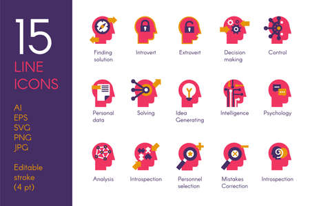 Human mind processes flat vector icons set. Brain science and psychology red pictograms