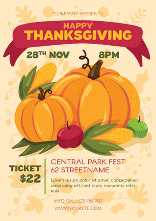Happy thanksgiving day party poster template. Advertising invitation on harvest fest. Commercial flyer design with pumpkin semi flat illustration. Vector cartoon promo card.