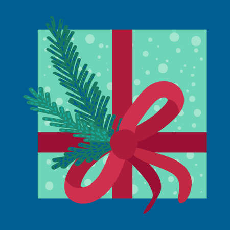 Christmas present in wrapping paper flat vector illustration. Festive gift box with fir tree branch Illustration