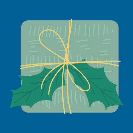 Christmas present top view flat vector illustration. Gift box with ilex leaves design element