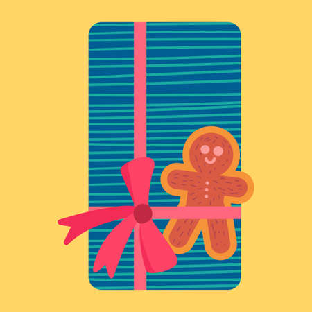 Christmas present from above flat vector illustration. Wrapped gift box with gingerbread cookie