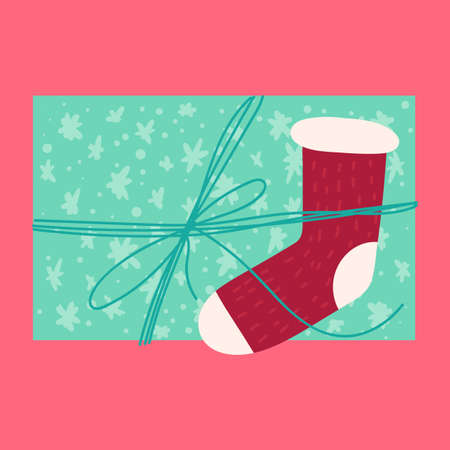 Christmas festive present from above flat vector illustration. Wrapped gift box with knitted sock