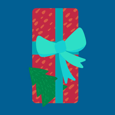 Christmas present in wrapping paper flat vector illustration. Festive gift box with fir tree toy Ilustração