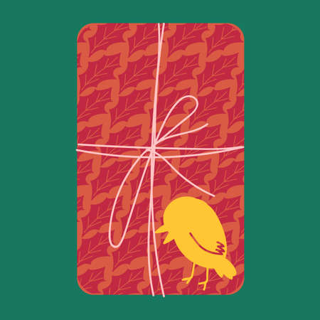Christmas present from above flat vector illustration. Wrapped gift box with yellow bird