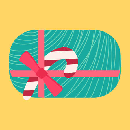 Christmas present from above flat vector illustration Illustration