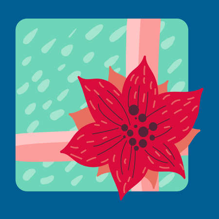 Christmas present in wrapping paper flat vector illustration