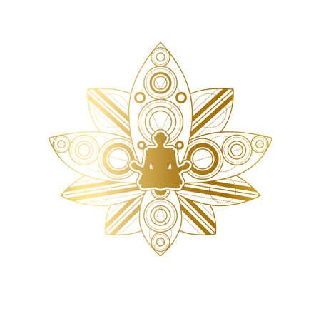 Yoga and Meditation Label Design, Lotus Template Illustration